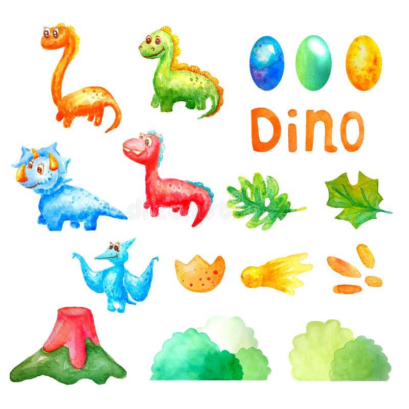 水彩集合汇集逗人喜爱的恐龙和五颜六色的鸡蛋、火山、叶子、彗星、步、bushs和词白色的迪诺 皇族释放例证
