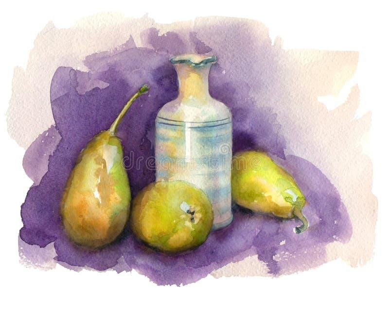 水彩静物画用梨 向量例证