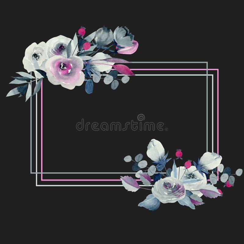 水彩靛蓝框架和绯红色玫瑰和植物 库存例证