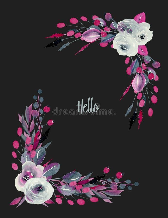 水彩靛蓝花卉壁角边界和绯红色玫瑰和植物 皇族释放例证