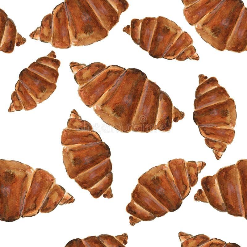 水彩面包店无缝的样式 手拉的传染媒介illustrati 向量例证