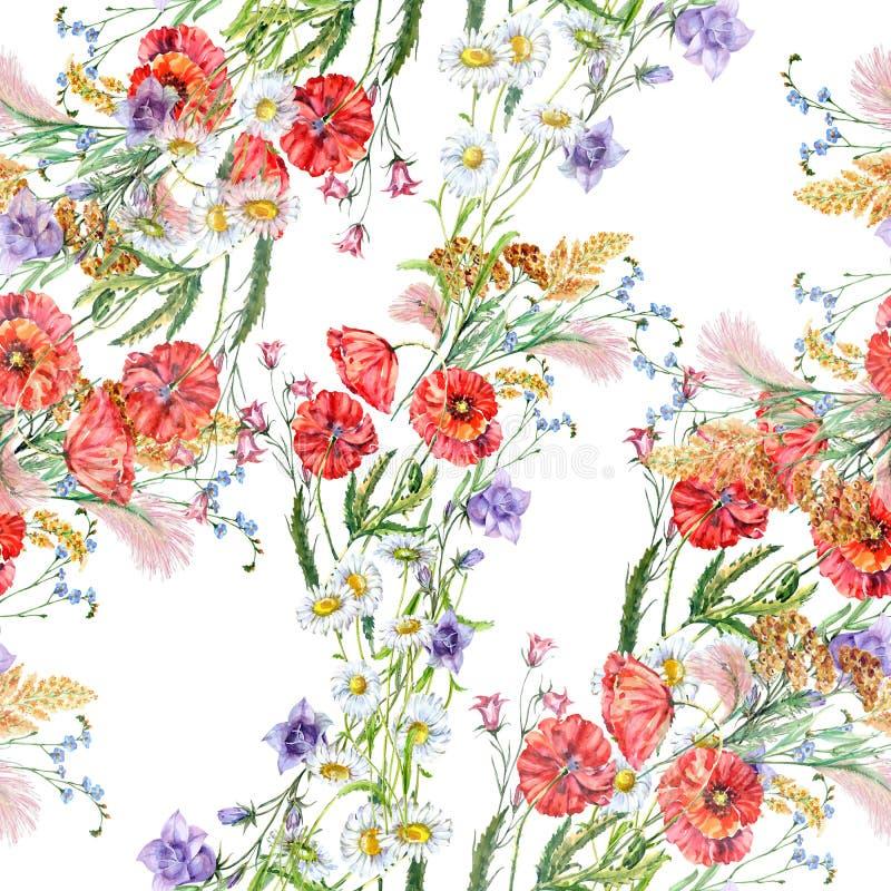 水彩领域花束花  在一个空白背景的无缝的模式 皇族释放例证