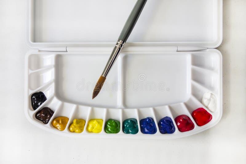 水彩颜料调色板 免版税库存图片