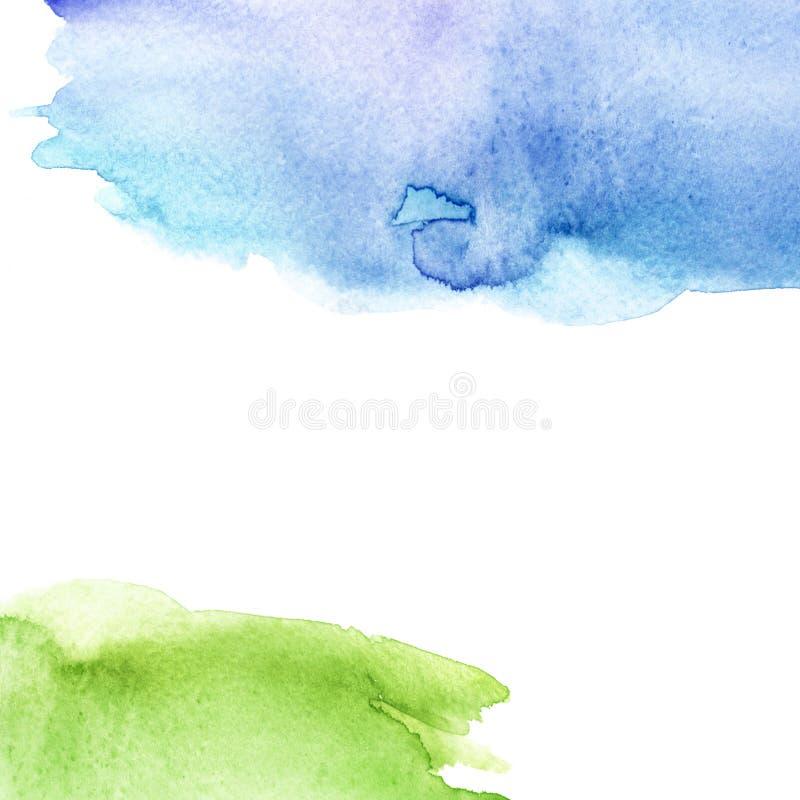水彩飞溅污点,蓝色和绿色 抽象污点,背景 水彩领域、天空和草 抽象郊区风景, 库存图片