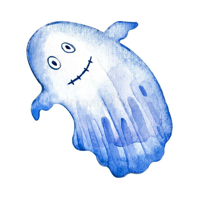 水彩飞魂 《鬼魂万圣节快乐》 可怕的白鬼 可爱的漫画 向量例证