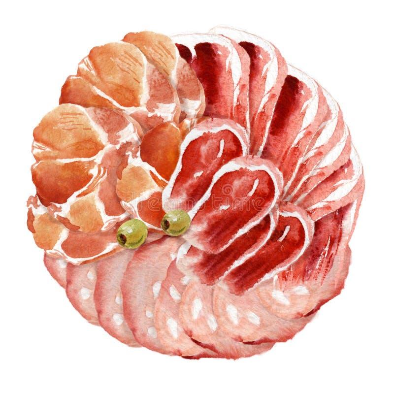 水彩食物 肉纤巧 皇族释放例证