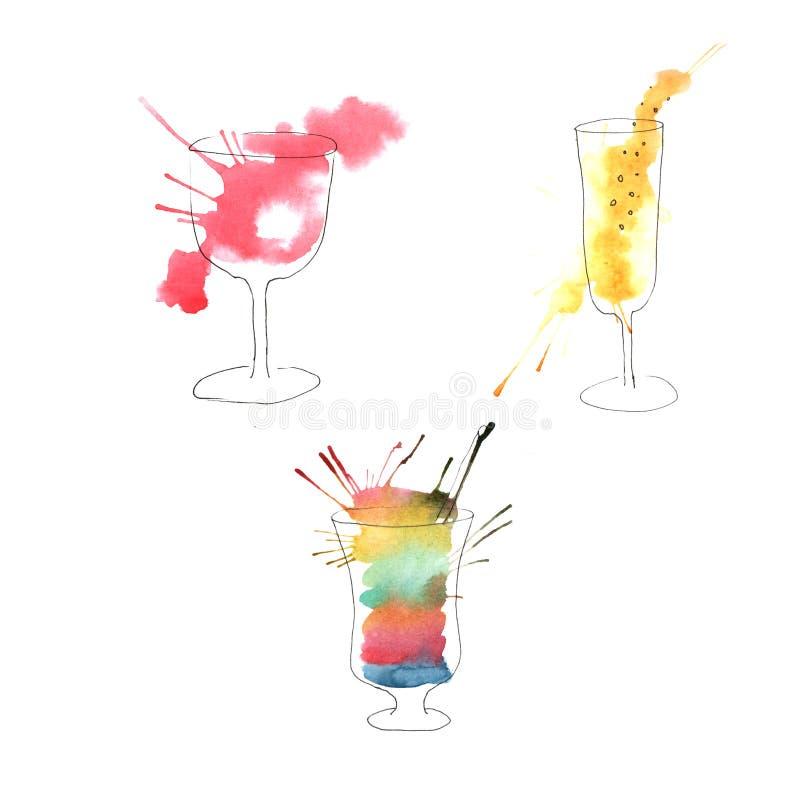 水彩饮料的例证 库存例证
