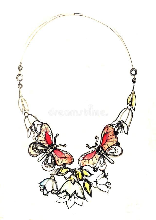 水彩首饰例证,项链时尚剪影,首饰设计蝴蝶葡萄酒项链 手图画和 向量图片
