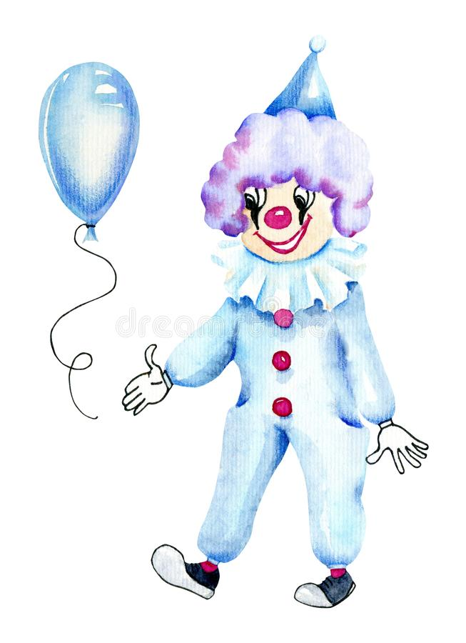 水彩马戏团小丑和蓝天气球 库存例证