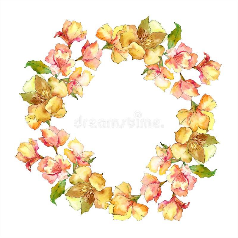 水彩黄色和橙色德国锥脚形酒杯花 花卉植物的花 框架边界装饰品正方形 库存例证