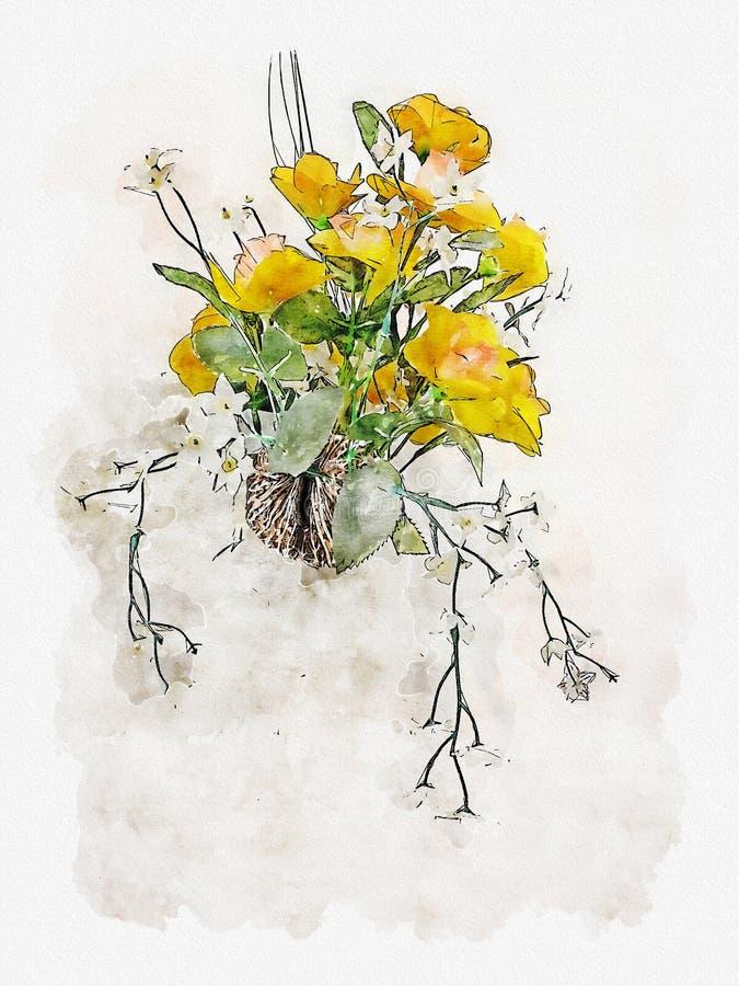 水彩黄色花的例证 向量例证