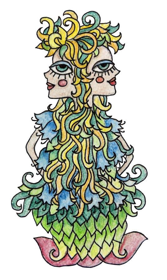 水彩黄道带标志的pensil例证 有五颜六色的头发的双子星座女孩 背景查出的白色 库存例证