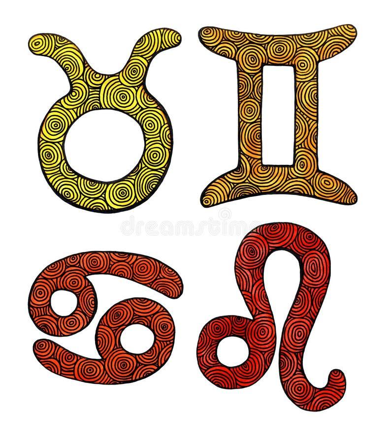 水彩黄道带标志 皇族释放例证