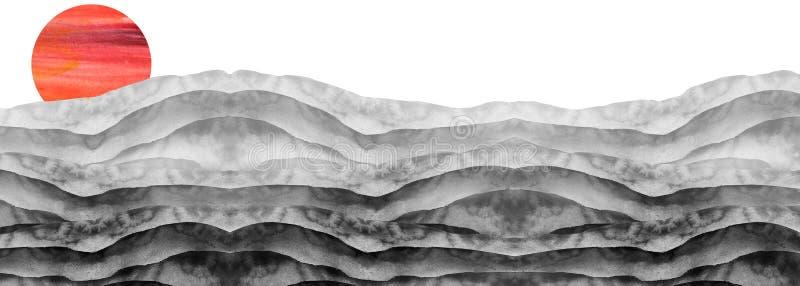 水彩黑白小山,小丘,草 沙漠,沙子 夏天,在白色背景的秋天风景 夏天土地 库存照片