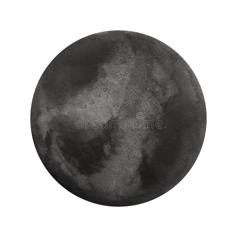 水彩黑色圈子 向量例证