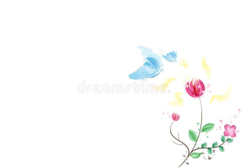 水彩,与花,墨水泼溅物自然的花粉的蝴蝶 向量例证