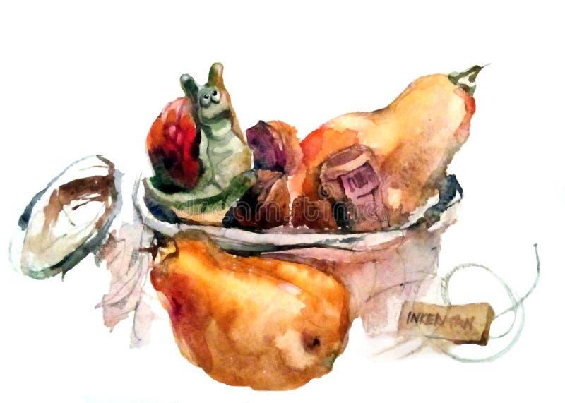 水彩:在一个篮子的瓷蜗牛与从香槟的黄柏 免版税库存图片