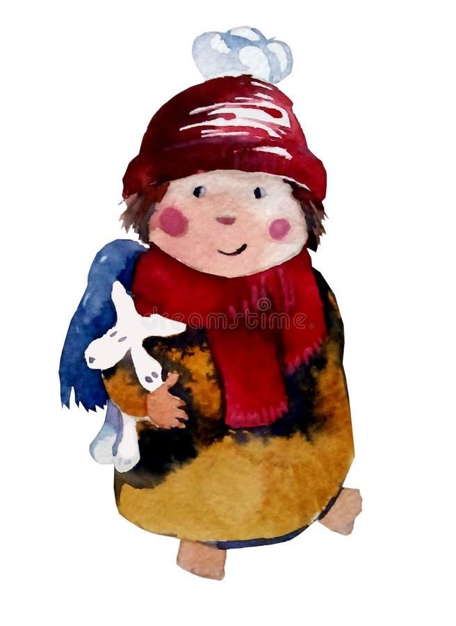 水彩:在帽子的圣诞节天使有一条狗的在他的手上 库存图片