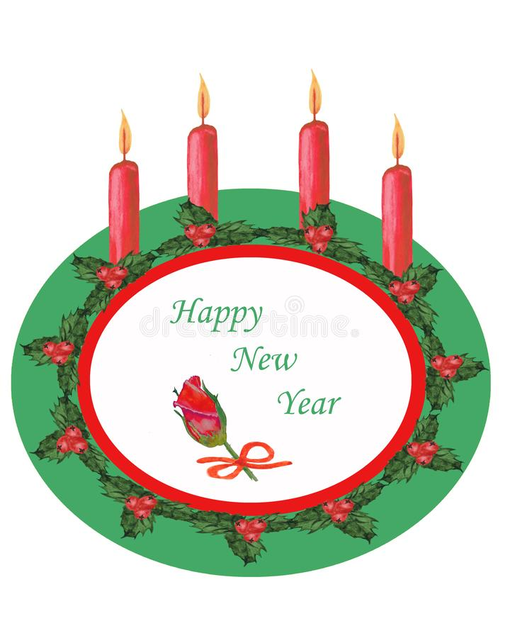 水彩 圣诞节构成板材,装饰用绿色叶子、红色莓果和蜡烛 向量例证