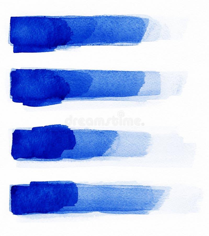 水彩 蓝色摘要在水彩纸绘了墨水冲程被设置 墨水冲程 平展亲切的刷子冲程 图库摄影