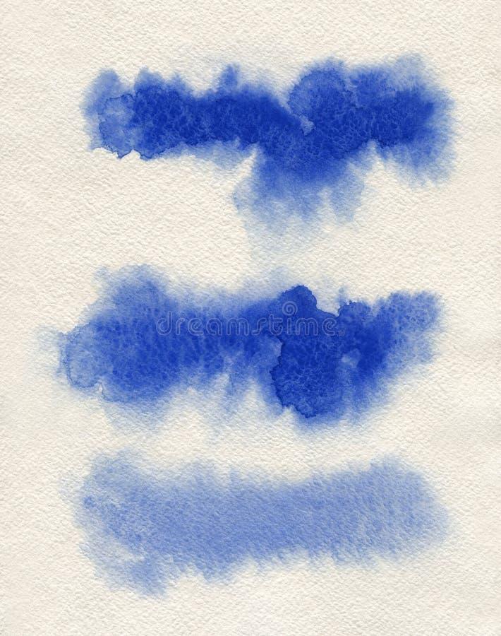 水彩 蓝色摘要在水彩纸绘了墨水冲程被设置 墨水冲程 平展亲切的刷子冲程 库存图片