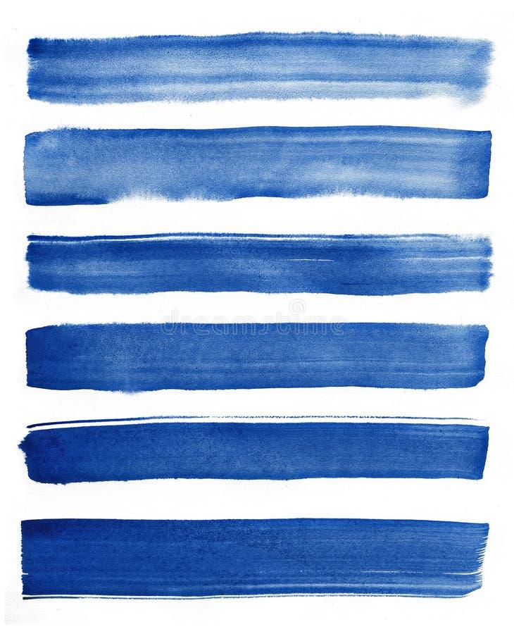 水彩 蓝色摘要在水彩纸绘了墨水冲程被设置 墨水冲程 平展亲切的刷子冲程 免版税图库摄影