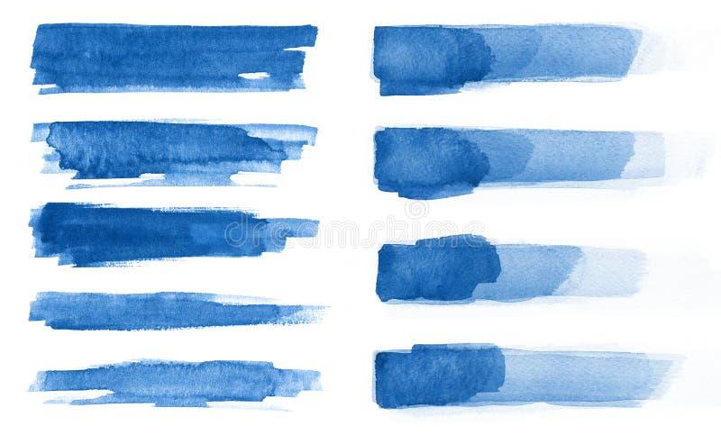 水彩 蓝色摘要在水彩纸绘了墨水冲程被设置 墨水冲程 平展亲切的刷子冲程 库存照片