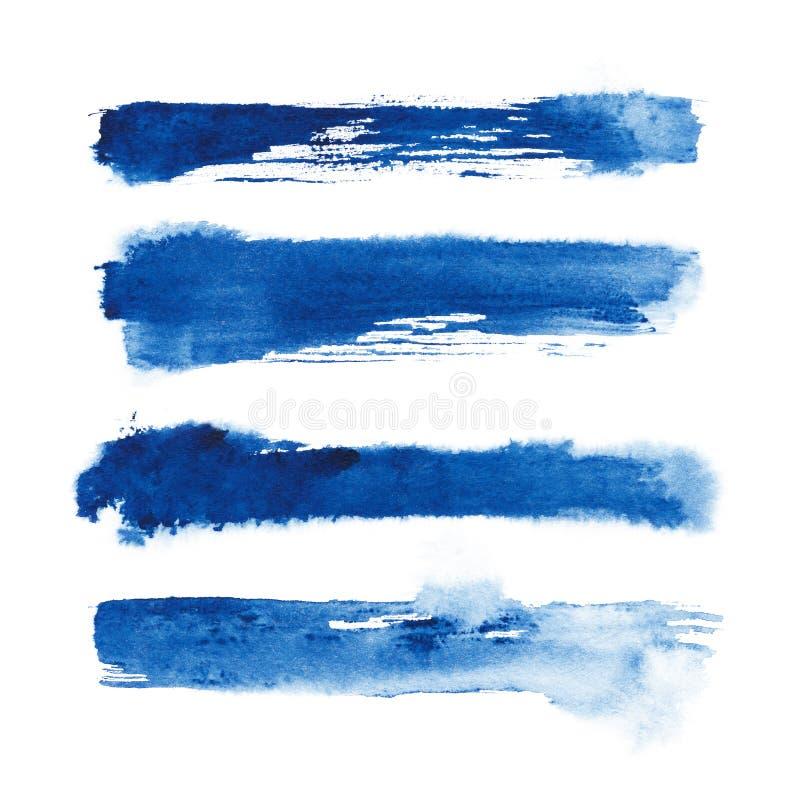 水彩 蓝色摘要在水彩纸绘了墨水冲程被设置 墨水冲程 平展亲切的刷子冲程 免版税库存图片