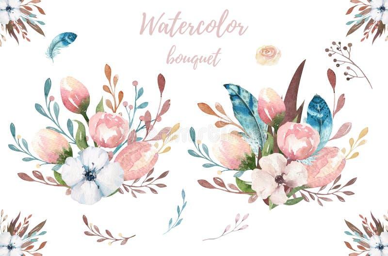 水彩boho花卉例证 漂泊春天花花束,花圈,婚姻的,周年安排 库存例证