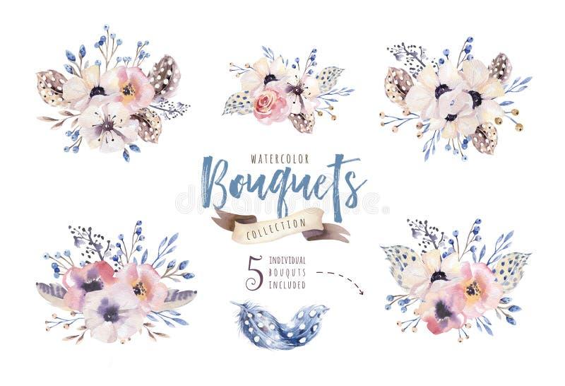 水彩boho花卉例证 漂泊花花束,花圈,婚姻的,周年,生日安排 向量例证