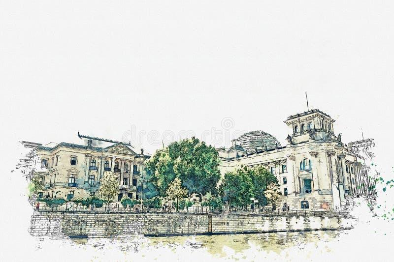 水彩Reichstag的美丽的景色的剪影或例证在柏林 库存例证