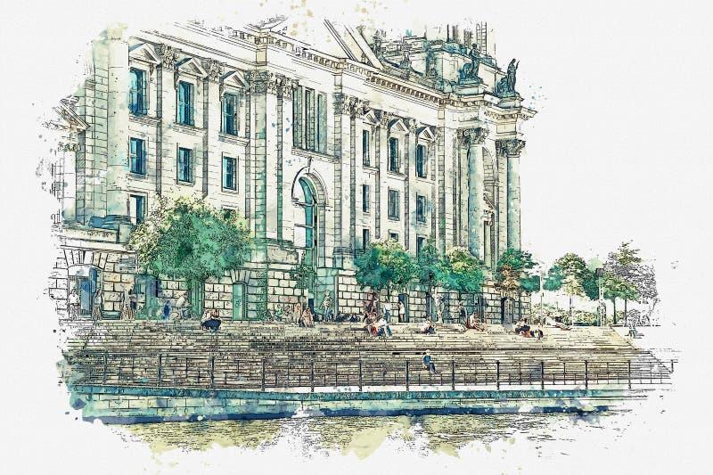 水彩Reichstag的美丽的景色的剪影或例证在柏林 向量例证