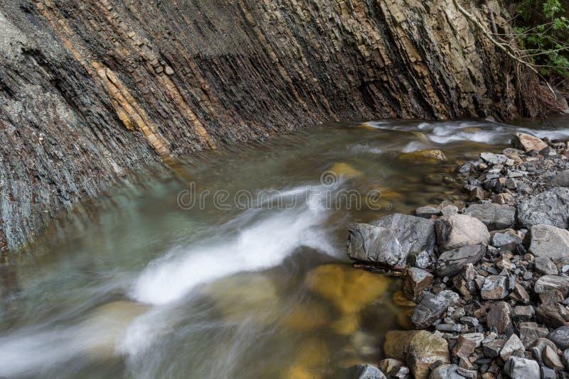 水成岩,在The Creek银行的地质层数  库存图片