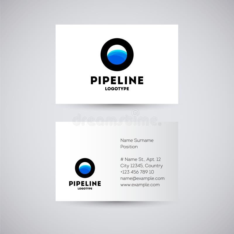 水或气体管道商标 管子商标 配管,管子服务象征 总公司徽标 向量例证