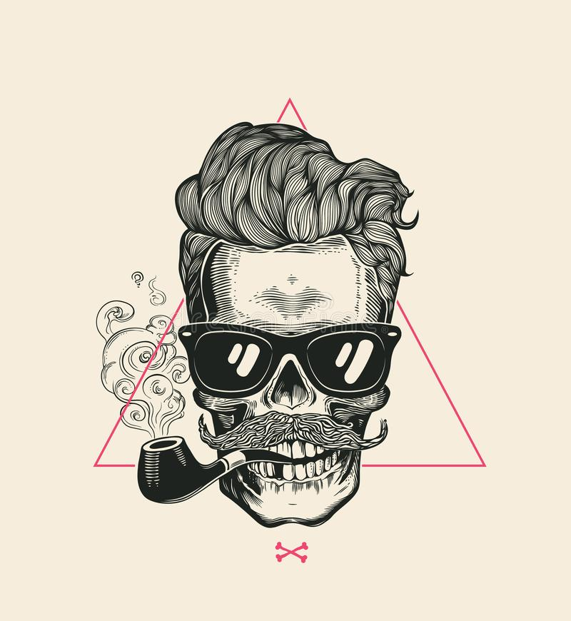水手凉快的头骨烟管子传染媒介T恤杉印刷品 现代在太阳镜的髭最基本的面孔 都市样式头发 向量例证