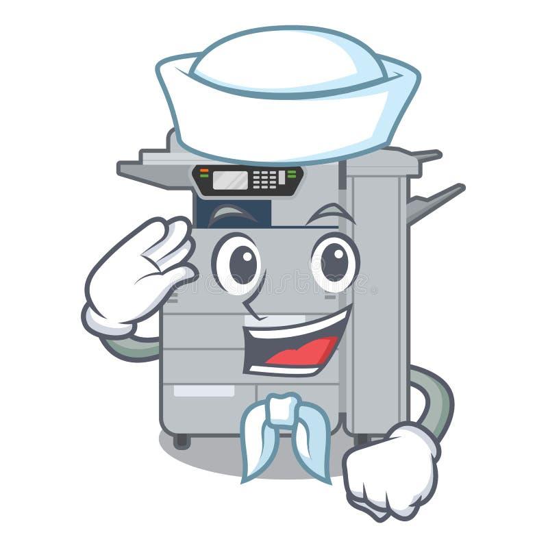 水手在动画片形状的影印机机器 库存例证