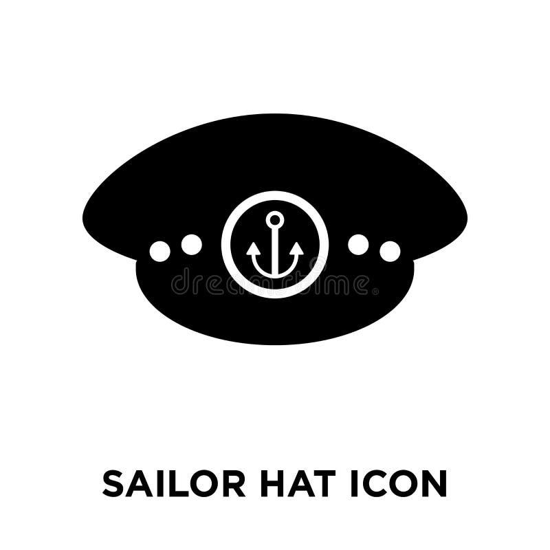 水手帽子在白色背景隔绝的象传染媒介,商标concep 库存例证