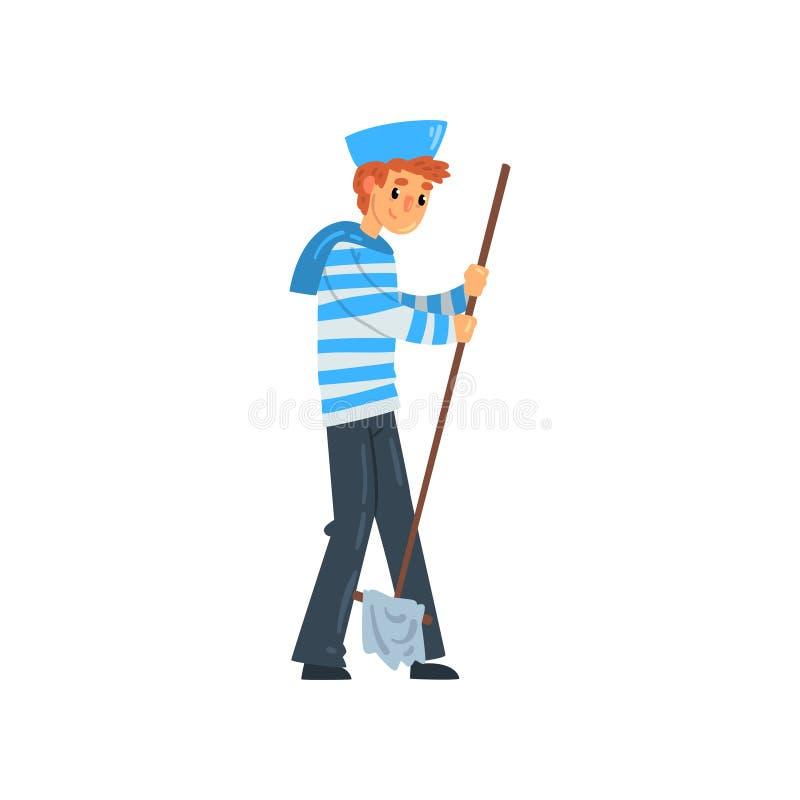 水手站立与拖把的,在镶边汗衫的海员字符和盖帽导航在白色背景的例证 皇族释放例证