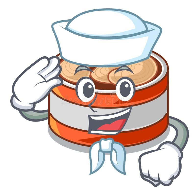 水手装金枪鱼于罐中隔绝与在吉祥人 库存例证