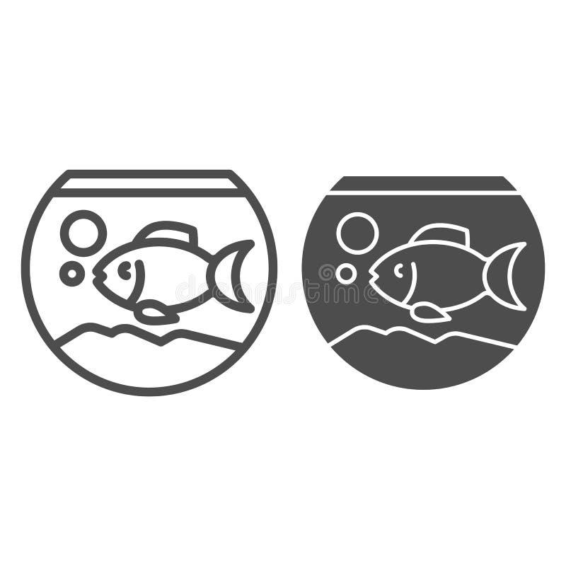 水族馆线和纵的沟纹象 在水族馆在白色隔绝的传染媒介例证的鱼 Fishbowl概述样式设计 皇族释放例证