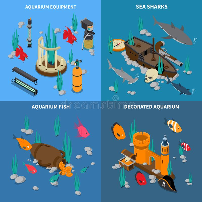 水族馆被设置的概念象 皇族释放例证