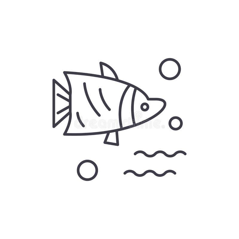 水族馆鱼线象概念 水族馆鱼导航线性例证,标志,标志 库存例证