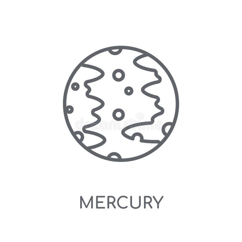 水星线性象 在丝毫的现代概述水星商标概念 库存例证