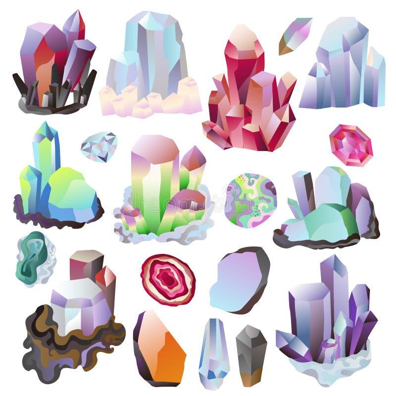 水晶传染媒介水晶石头或珍贵的宝石首饰例证套的珠宝宝石或矿物石 向量例证