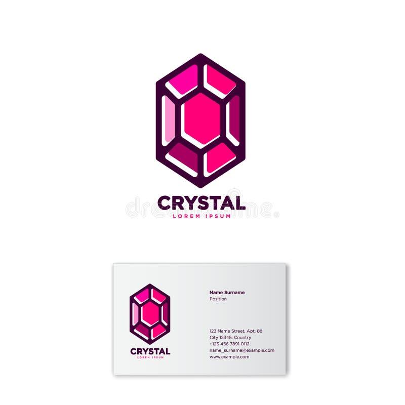 水晶商标 雕琢平面的石象征 红颜色 身分 名片财务系列 皇族释放例证