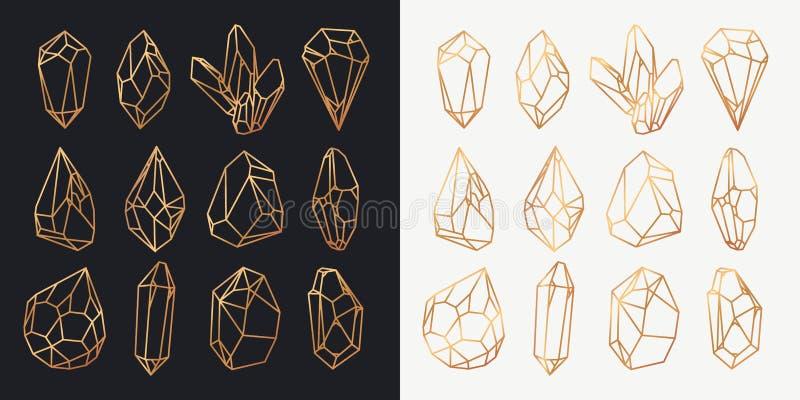 水晶或矿物、金刚石和宝石概述 皇族释放例证