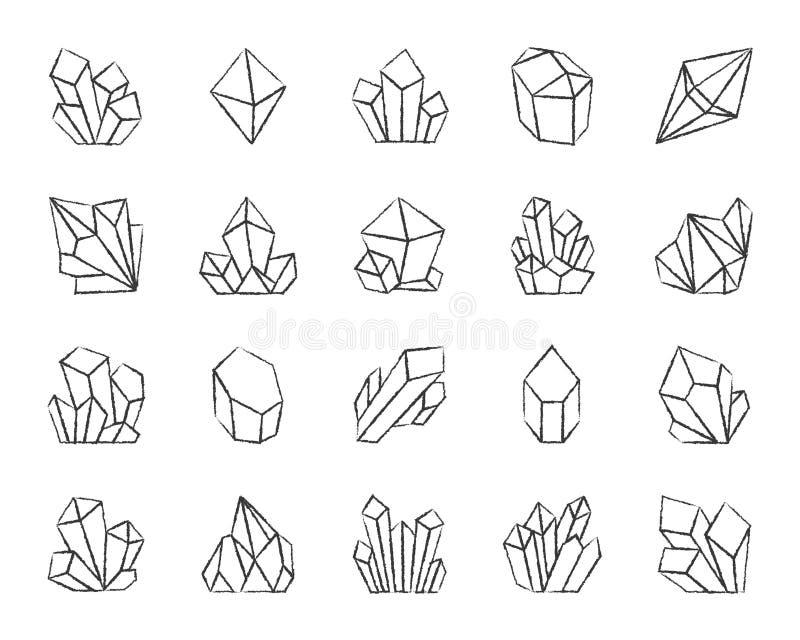 水晶木炭凹道线象传染媒介集合 库存例证