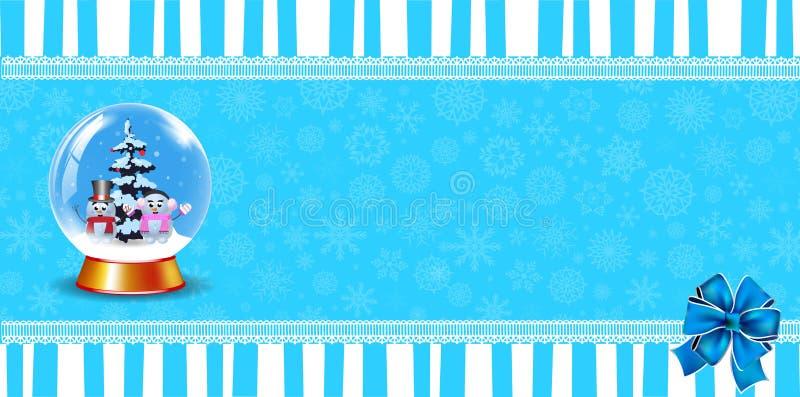 水晶雪地球逗人喜爱的欢乐横幅在蓝色镶边背景的与弓和拷贝 皇族释放例证