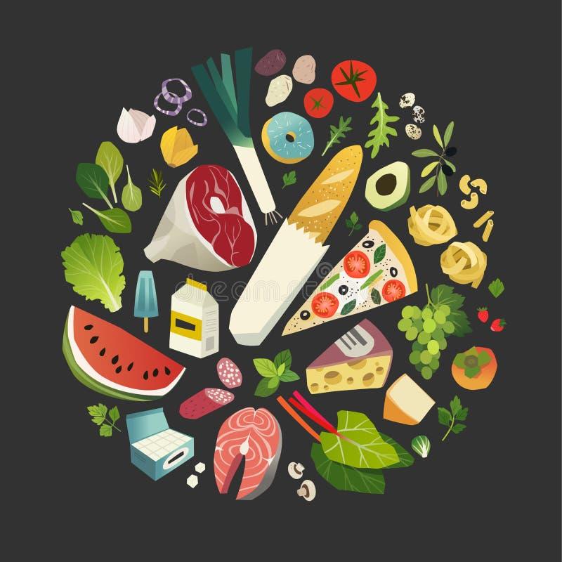 水果、蔬菜、叶茂盛绿色和共同的草本的汇集 皇族释放例证