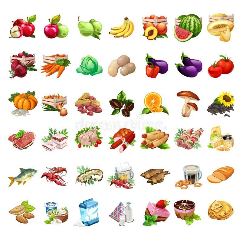 水果、蔬菜、肉制品、啤酒、快餐、牛奶和点心集合 食物42个象在动画片样式的 大传染媒介集合 向量例证